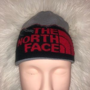 The North Face Knitted Beanie Winter Hat Red Grey Mountain Print Reversible